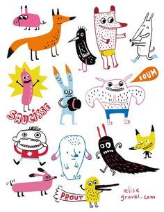 55 Ideas Funny Drawings Animals Character Design For 2019 Art And Illustration, Fuchs Illustration, Illustration Mignonne, Illustrations And Posters, Character Illustration, Cute Monster Illustration, Illustrations Vintage, Illustration Animals, Animal Illustrations