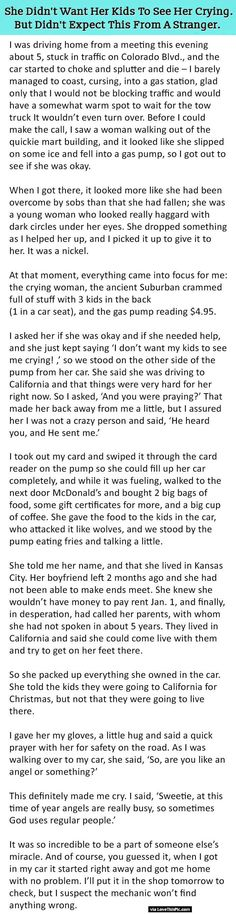 She Did Not Want Her Kids To See Her Crying But Never Expected This From A Stranger.