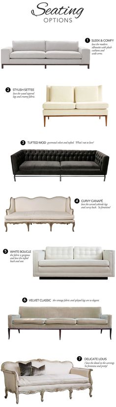 seating options, tufted, velvet, mid-century modern, french eclectic, living room furniture