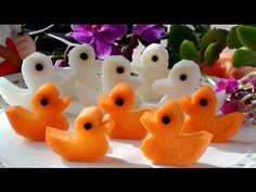 How to Make Five Little Ducks   Vegetable Carving Garnish   Carrot Ducks   Party Food Decoration - YouTube