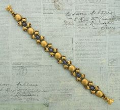 Linda's Crafty Inspirations: Bracelet of the Day: Lucy - Gold & Purple Beaded Earrings, Beaded Jewelry, Beaded Bracelets, Jewellery, Jewelry Making Tutorials, Jewelry Making Beads, Bronze, Beading Projects, Bracelet Tutorial