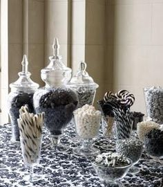 A black and white candy bar for a black and white wedding! You could add black and white bows at the base of the different vases and glasses as well as something at the steeple of the vases. Black White Parties, Black And White Theme, Candy Table, Candy Buffet, Dessert Table, Food Buffet, Candy Dishes, Candy Bar Wedding, Wedding Favors