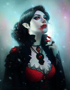 """Kiriban - Vampire by *Viccolatte on deviantART"" - she's stylin' n euphoric in ""the flush"" ~:^]>"