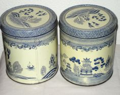 2 vintage tin cans blue willow pattern by sweetalicelovesyou, $24.00