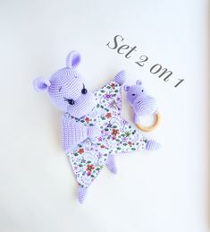 Baby blanket toy and baby rattle Hippo / Crochet comforter eco friendly pregnancy gift / Montessori toddler toys / Expecting mom gift Crochet Security Blanket, Baby Security Blanket, Crochet Blanket Patterns, Baby Blanket Crochet, Baby Patterns, Crochet Baby, Crochet Toys, Handmade Baby Blankets, Handmade Toys