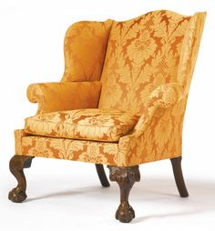 A VERY FINE AND RARE CHIPPENDALE CARVED MAHOGANY WING ARMCHAIR, Philadelphia, Pennsylvania,  circa 1770 -  Height 44 in.