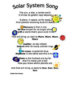 System Poem This poem is a great way to teach the names of the planets in our solar system. It can be sung to the tune of Do-Re-Me.This poem is a great way to teach the names of the planets in our solar system. It can be sung to the tune of Do-Re-Me. Space Theme Preschool, Space Activities For Kids, Space Crafts For Kids, Preschool Songs, Science For Kids, Space Songs For Kids, Elementary Science, Science Education, Physical Education
