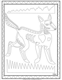 S.Mac's X-ray Art Dingo Coloring Page