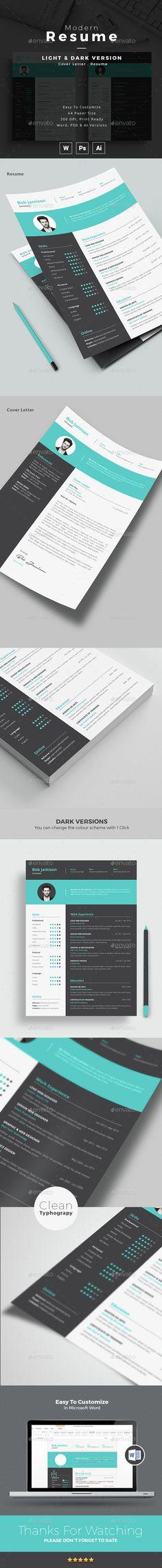 Modern Resume Template PSD, Vector AI. Download here: http://graphicriver.net/item/modern-resume/14779867?ref=ksioks