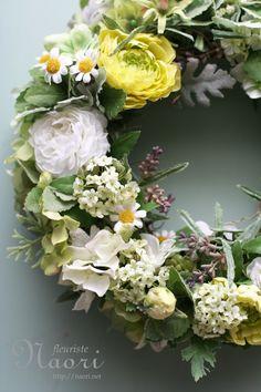 ラベンダーとミントのグリーンリース  artificial flower 20130716