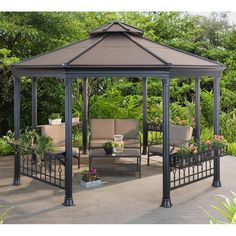 Take a look at these remarkable gazebo ideas: what an original theme ., Take a look at these remarkable gazebo ideas: what an original theme # Kiosk When historical inside strategy, the pergola may be going through a bit of a contemporary. Outdoor Gazebos, Backyard Gazebo, Garden Gazebo, Pergola Patio, Outdoor Structures, Pergola Kits, Aluminum Gazebo, Backyard Pavilion, Pergola Curtains