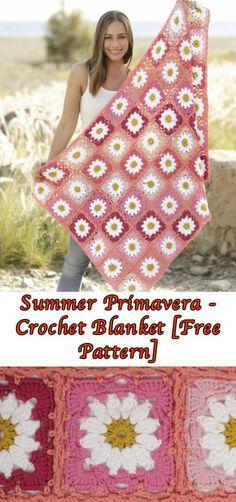 Summer Primavera - Crochet Blanket [Free Pattern] #freecrochetpatternforblanket #freecrochetpatternforafghan