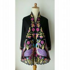 Kebaya Bangau Kebaya Lace, Batik Kebaya, Blouse Batik, Batik Dress, Embroidered Clothes, Dress Summer, Cool Suits, Peacock, Blazers
