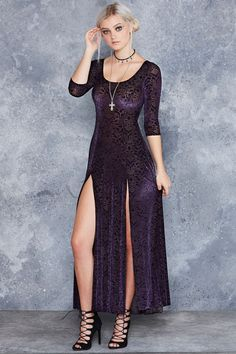 Burned Velvet Jewel Long Sleeve Maxi Dress - Limited
