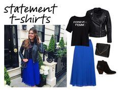 """""""Statement T-shirt for Spring"""" by msmariasorensen ❤ liked on Polyvore featuring MANGO, Sisters Point, Boohoo, Frye, Blue, leatherjacket, booties and statementtshirts"""