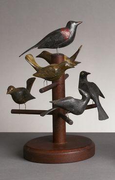 6 turn of the 20th century carved birds folk art