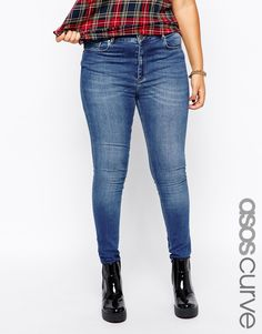 ASOS CURVE Lisbon Mid Rise Skinny Jean In Busted Blue
