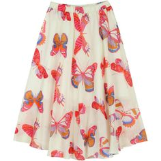 ililily Colorful Butterfly Pattern Knee Length Full Lining Gauze Flare... (42 CAD) ❤ liked on Polyvore featuring skirts, knee length skater skirt, knee length circle skirt, knee high skirts, multi color skirt and flared skirt