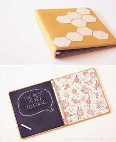 [DIY] Fabric covered binder with chalkboard inside. www.scrapbooks-etc.com