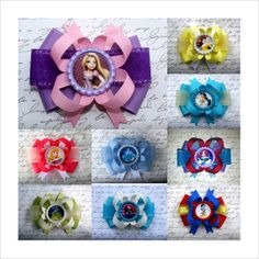 """Set of 8 choose small 3"""" Disney Princesses Birthday PARTY Favor toddler by #LaPrincesseBows  (more princesses available in other photos) Rapunzel/Tangled, Belle, Jasmine, Aurora Sleeping Beauty, Tiana Princess and the Frog, Merida/Brave, Snow White, Ariel Little Mermaid, Cinderella, Tinkerbell, Sofia Sophia the First 1st, Mulan"""