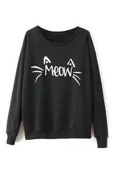 Cute Hipster Outfits : abaday | Cat Face Print Black Sweatshirt The Latest Street Fashion