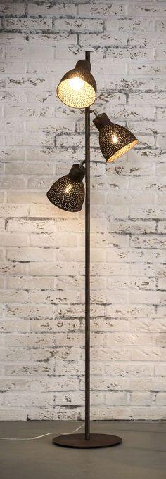Collectie Prima-Lux en Idee+: stalamp afgewerkt met geperforeerd verouderd metaal Lamp, Ceiling Lights, Iron, Floor Fan, Home Decor, Lights, Floor Lamp, Pendant Light, Light