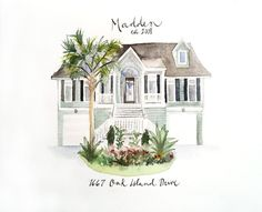This original, one of a kind watercolor illustration is a perfect timeless gift for first time home buyers, newlyweds, grandparents, holiday
