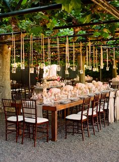 A favorite destination wedding this private estate and vineyard in Napa Valley is perfect for a romantic wine-country wedding. Have your ceremony in the Grecian style sunken garden beside a lily-filled fountain. Hanging Wedding Decorations, Decoration Table, Reception Decorations, Reception Table, Hanging Candles, Hanging Jars, Hanging Lights, Floating Candles, Fairy Lights