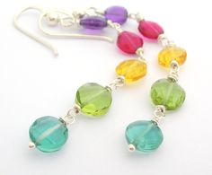 Polka Dot Earrings bright colorful polka dots rainbow wedding jewelry ...