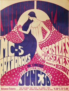 Psychedelic Concert Poster _ Jefferson Airplane _ Ford Auditorium _Detroit, Michigan _6/30/1967