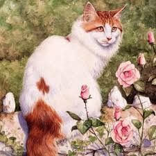 cat picture with maine coon debbie cook solo miotic pupil white hair sitting looking at viewer red hair tail brown nose drawing long hair big ears dichromatic orange eyes flower (flowers) Cross Paintings, Animal Paintings, Chat 3d, Munier, Nose Drawing, Fleurs Diy, Cat Flowers, Cross Stitch Animals, Beaded Animals