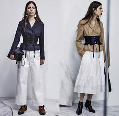 3.1 Phillip Lim 2017 Pre Fall Autumn Womens Lookbook Presentation - Age Of Innocence Victorian Peasant Blouse Skirt Drawstring Cinch Lace Up Pearls Stripes Corset Knit Outerwear Coat Blazer Jacket Anorak Buttons Bell Sleeves Dress Plaid Tartan Check Wool Pussycat Bow Bomber Jacket Linen Plastic High Waist Track Pants Sporty Jogger Sweatpants Pinafore Strapless Vest Waistcoat Polka Dots Denim Mom Jeans Tapered Dark Wash Bleached Wide Leg Crossbody Bag Purse Clutch Ankle Boots Grommets