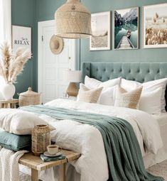 Bedroom Wall Colors, Bedroom Green, Room Decor Bedroom, Beach Style Bedroom Decor, Bedroom Colour Schemes Warm, Beach Inspired Bedroom, Design Bedroom, Master Bedroom, Couleur Feng Shui