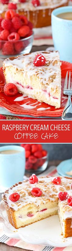 Raspberry Cream Cheese Coffee Cake - raspberries and sweet cream cheese filling layered into a soft and moist streusel topped coffee cake! | Life, Love and Sugar
