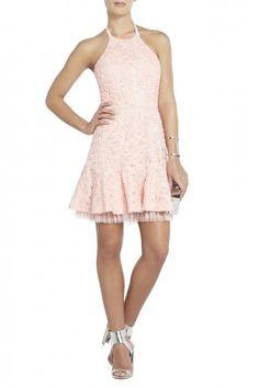 Basanti Embroidered Bodice Neck Strap Flared-Skirt BCBG Max Azria Dress Light Shell