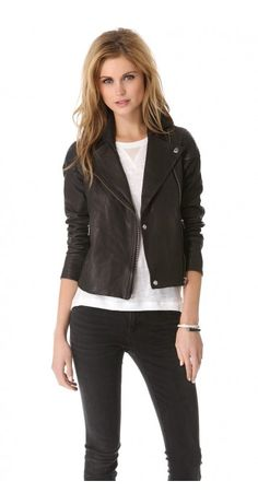 SERGEANT LEATHER JACKET $230.51 Marc by Marc Jacobs updates the classic leather moto jacket with sleek, paneled construction. Exposed metal zips close the front and trim the pockets. Lined.