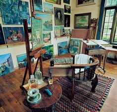 Winston Churchill's painting studio at Chartwell (Great Design - 1940s : Architectural Digest)
