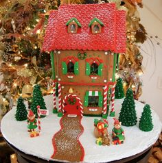 This was my gingerbread house for 2009.  Decorated with fondant....
