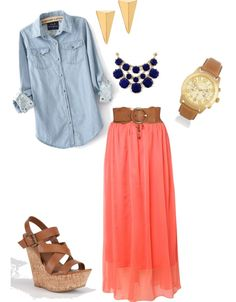 Denim shirt, maxi skirt and hills