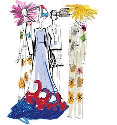 Thom Browne spring fashion presentation drawn by autumn kimball of kimballcreative