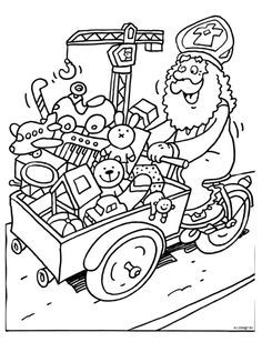 Kleurplaat Sinterklaas op de bakfiets Saint Nicolas, Coloring Pages, Saints, Clip Art, School, Fun, Classroom, Bike, Teaching
