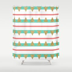 Mint Coral Gold Glitter Triangle Stripes Shower Curtain
