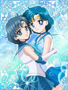 Old vs. New Sailor Mercury by 水羽 - Sailor Moon fanart Moon Art, Sailor Moon Character, Artist, Animation, Sailor Mercury, Anime, Cartoon, Manga, Magical Girl