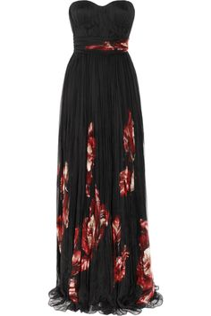 Another glam dress for the holidays.  Floral print pleated silk chiffon gown by Alexander McQueen.