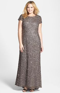 2f2980bdc52 Adrianna Papell Embellished Scoop Back Gown (Plus Size)