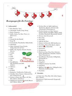 Die Ultimative Weihnachts-Einkaufsliste. An Weihnachten keine Besorgungen mehr vergessen!