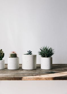 Speckled white concrete planter, cast by hand on the Isle of Wight. Perfect to display cacti, succulents and specimen plants