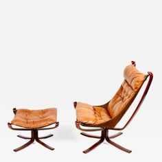 Original Highback Falcon Chair and Ottoman by Sigurd  Resell