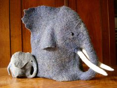 23 Weird But Awesome Knitted Things collected at Buzzfeed -- This image is a wonderful felted elephant tea cozy and egg-warmer, by Holofernes, at Ravelry: http://www.ravelry.com/projects/holofernes/hannibal-ante-teapot---aka-edward-found-his-father   WITH before-and-after-felting photos