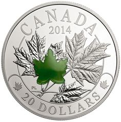 1 oz Fine Silver Majestic Maple Leaves with Jade